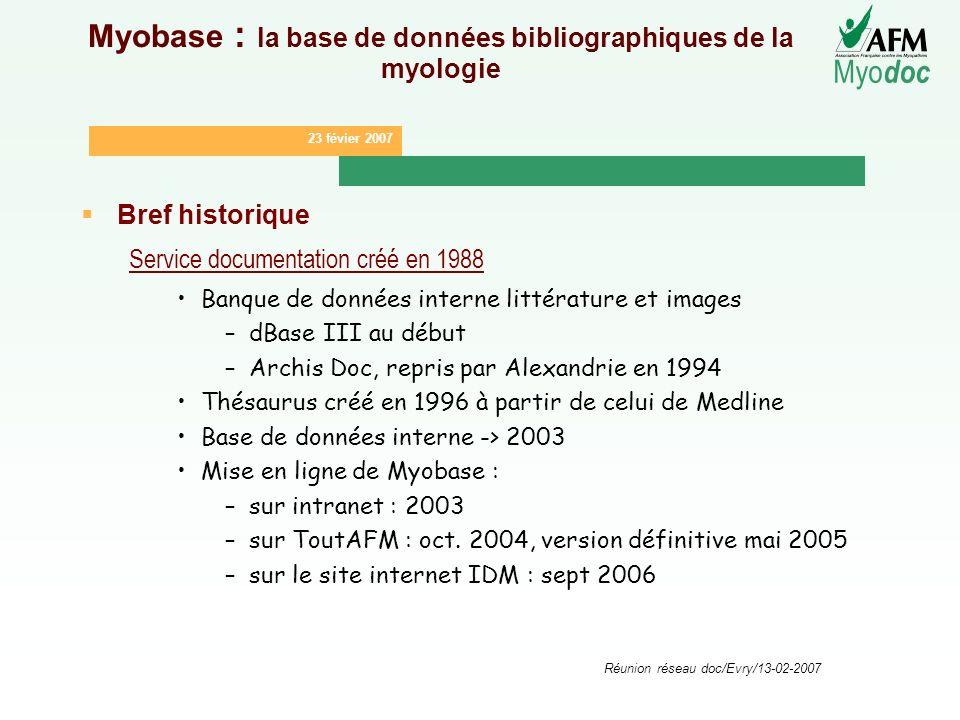 23 févier 2007 Myo doc Réunion réseau doc/Evry/13-02-2007 Myobase : la base de données bibliographiques de la myologie Bref historique Service documen