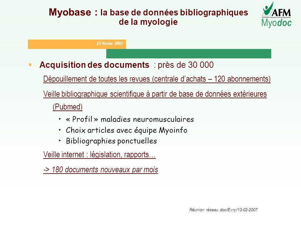 23 févier 2007 Myo doc Réunion réseau doc/Evry/13-02-2007 Myobase : la base de données bibliographiques de la myologie Acquisition des documents : prè