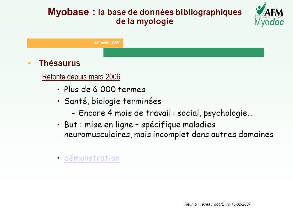 23 févier 2007 Myo doc Réunion réseau doc/Evry/13-02-2007 Myobase : la base de données bibliographiques de la myologie Thésaurus Refonte depuis mars 2