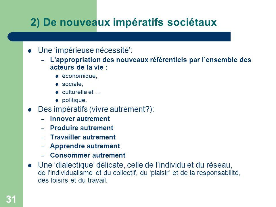 31 2) De nouveaux impératifs sociétaux Une impérieuse nécessité: – L appropriation des nouveaux référentiels par lensemble des acteurs de la vie : économique, sociale, culturelle et … politique.