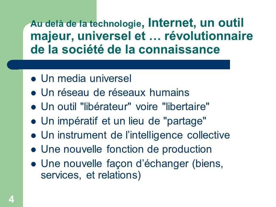 5 Un media universel Un accès (théoriquement) possible dans le monde entier De multiples utilisations/emplois possibles: – Mail – Banque dinformations – Échanges divers (fichiers multimédias) A partir de différents terminaux (pc/ pda /mobiles …)