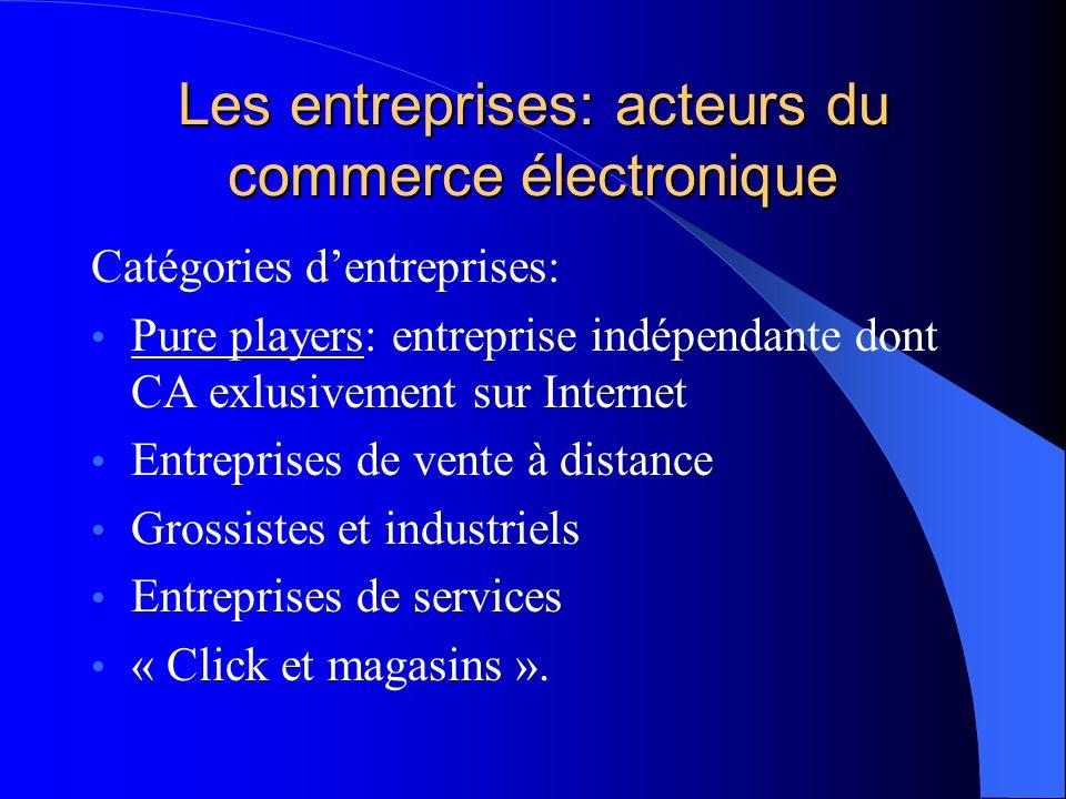 Les entreprises: acteurs du commerce électronique Catégories dentreprises: Pure players: entreprise indépendante dont CA exlusivement sur Internet Ent