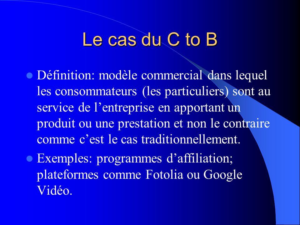 Le cas du C to B Définition: modèle commercial dans lequel les consommateurs (les particuliers) sont au service de lentreprise en apportant un produit