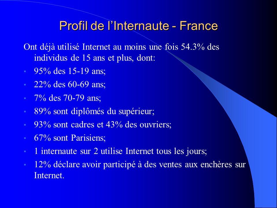 Profil de lInternaute - France Ont déjà utilisé Internet au moins une fois 54.3% des individus de 15 ans et plus, dont: 95% des 15-19 ans; 22% des 60-