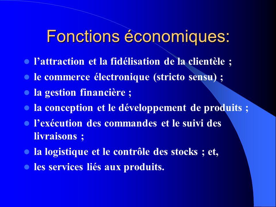 Fonctions économiques: lattraction et la fidélisation de la clientèle ; le commerce électronique (stricto sensu) ; la gestion financière ; la concepti