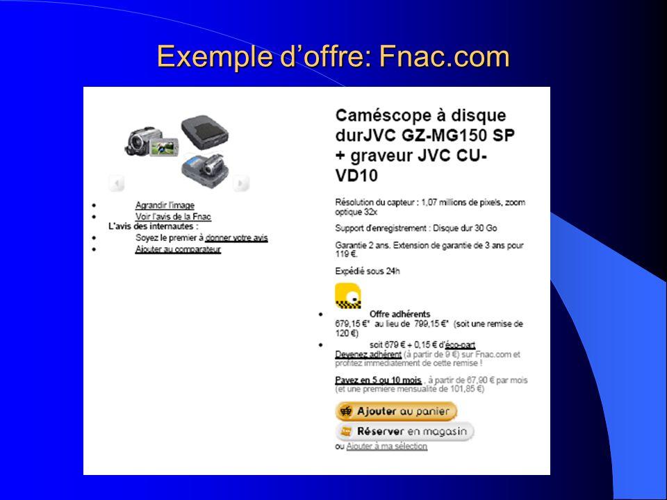 Exemple doffre: Fnac.com