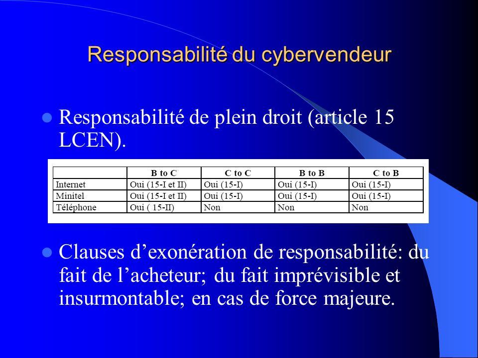 Responsabilité du cybervendeur Responsabilité de plein droit (article 15 LCEN). Clauses dexonération de responsabilité: du fait de lacheteur; du fait