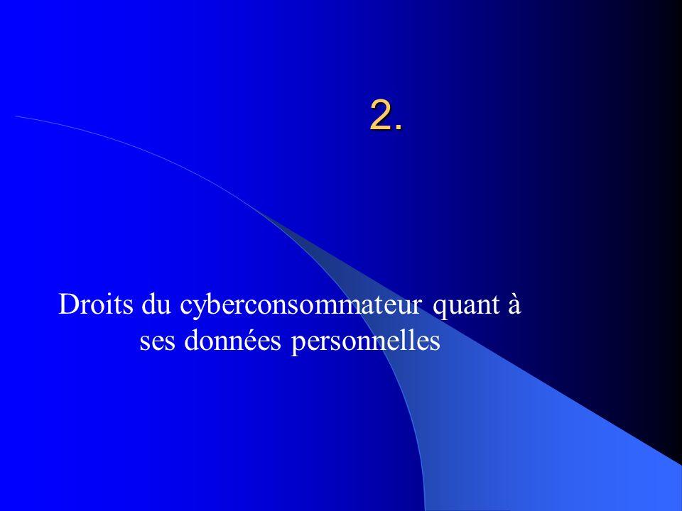 2. Droits du cyberconsommateur quant à ses données personnelles