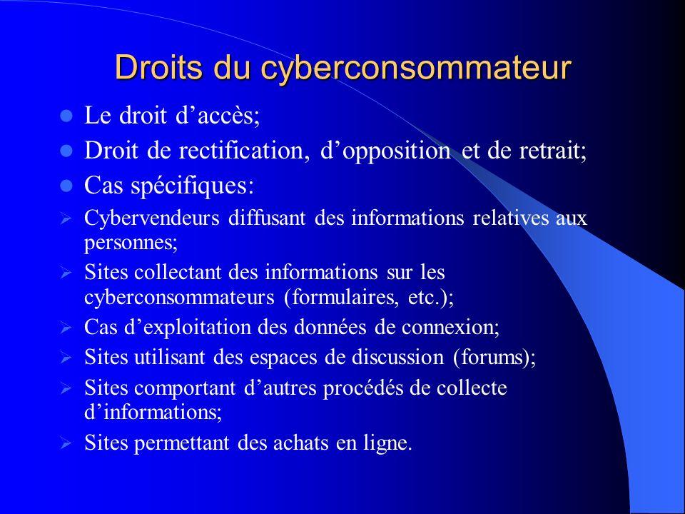 Droits du cyberconsommateur Le droit daccès; Droit de rectification, dopposition et de retrait; Cas spécifiques: Cybervendeurs diffusant des informati