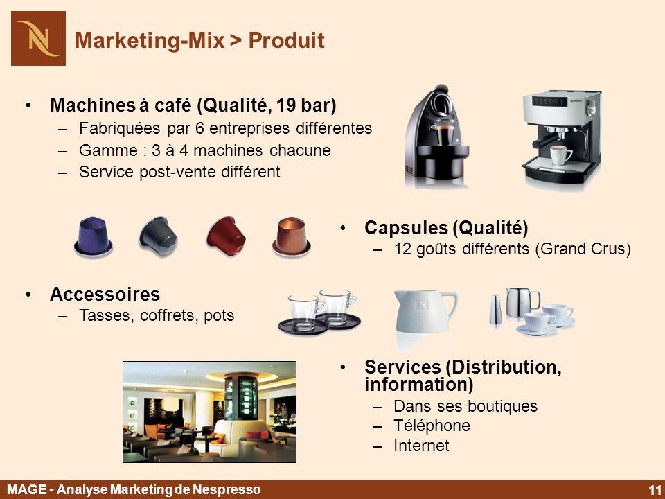 Machines à café (Qualité, 19 bar) –Fabriquées par 6 entreprises différentes –Gamme : 3 à 4 machines chacune –Service post-vente différent Capsules (Qu