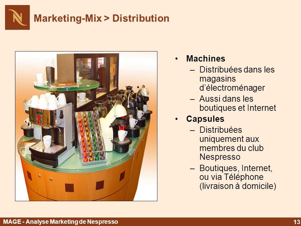 Machines –Distribuées dans les magasins délectroménager –Aussi dans les boutiques et Internet Capsules –Distribuées uniquement aux membres du club Nes