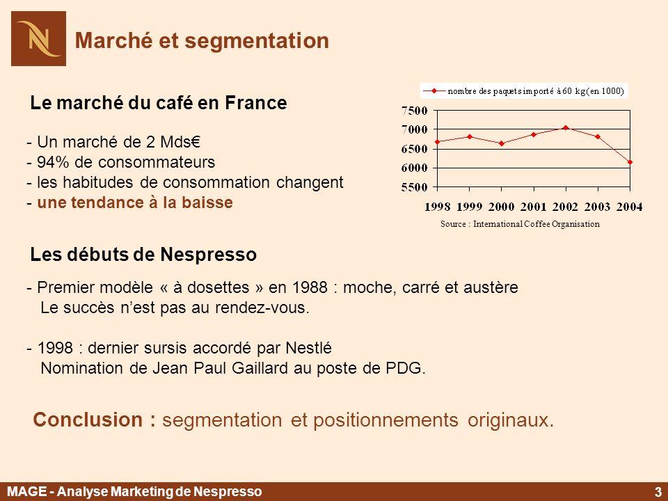Marché et segmentation Le marché du café en France - Un marché de 2 Mds - 94% de consommateurs - les habitudes de consommation changent - une tendance