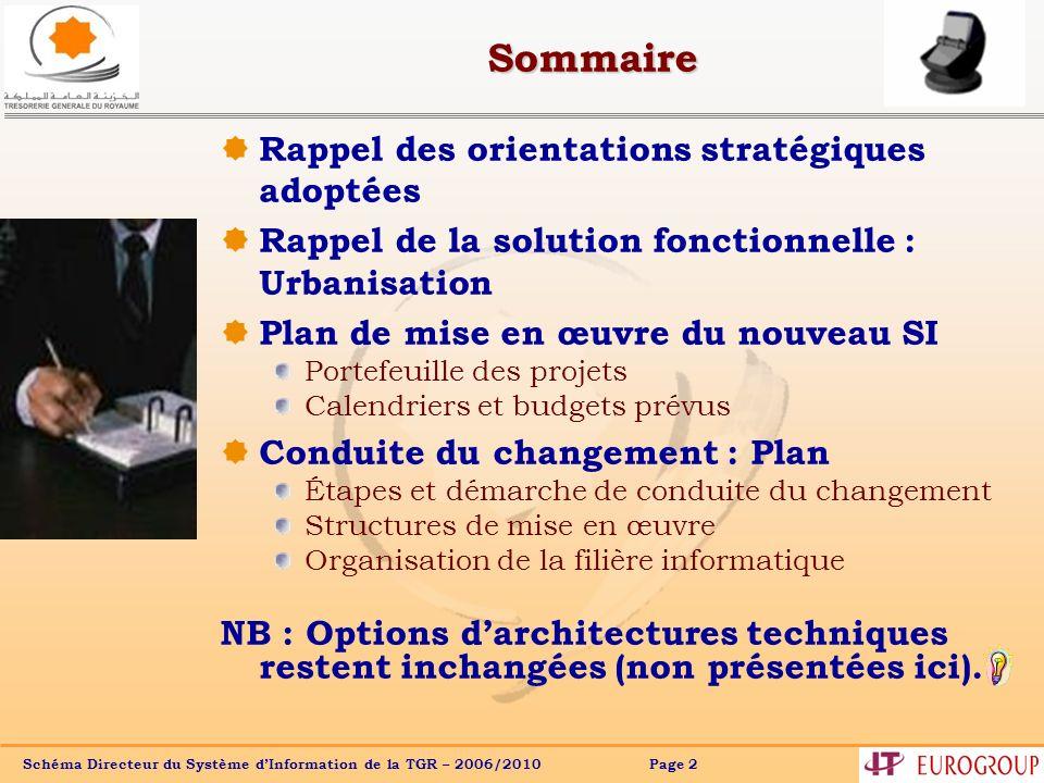 Schéma Directeur du Système dInformation de la TGR – 2006/2010 Page 2 Sommaire Rappel des orientations stratégiques adoptées Rappel de la solution fon