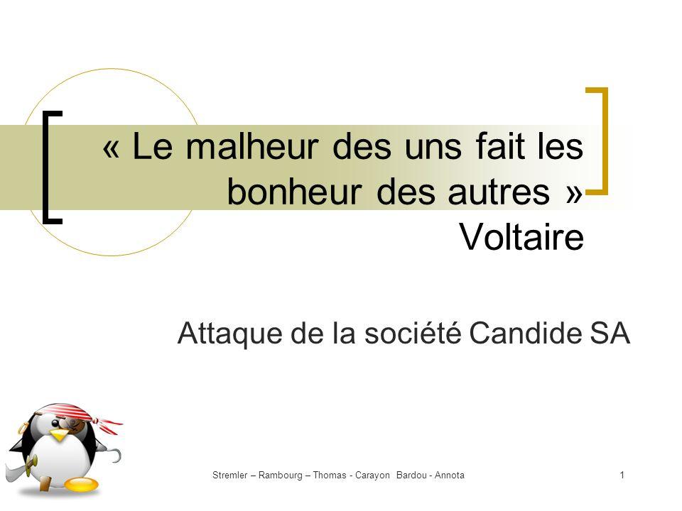 Stremler – Rambourg – Thomas - Carayon Bardou - Annota1 « Le malheur des uns fait les bonheur des autres » Voltaire Attaque de la société Candide SA