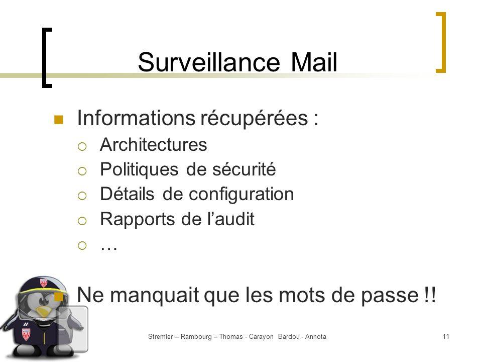 Stremler – Rambourg – Thomas - Carayon Bardou - Annota11 Surveillance Mail Informations récupérées : Architectures Politiques de sécurité Détails de c