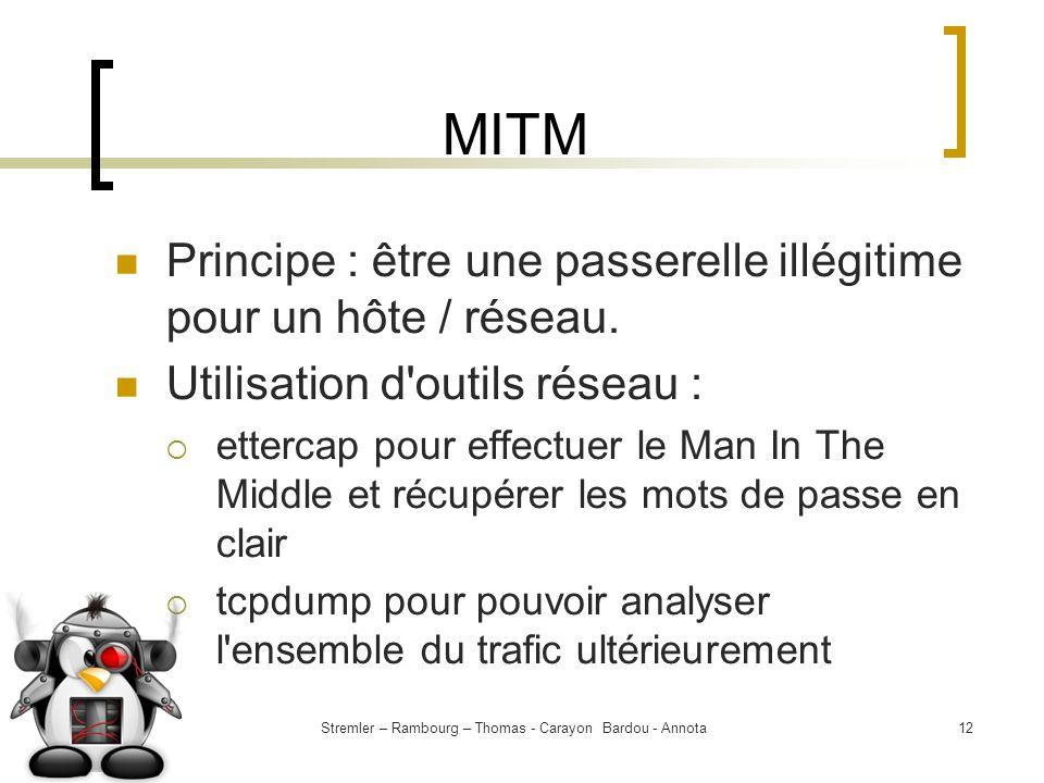 Stremler – Rambourg – Thomas - Carayon Bardou - Annota12 MITM Principe : être une passerelle illégitime pour un hôte / réseau. Utilisation d'outils ré