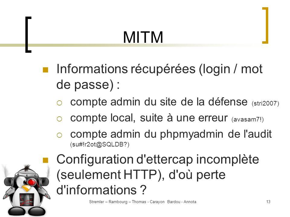 Stremler – Rambourg – Thomas - Carayon Bardou - Annota13 MITM Informations récupérées (login / mot de passe) : compte admin du site de la défense (str
