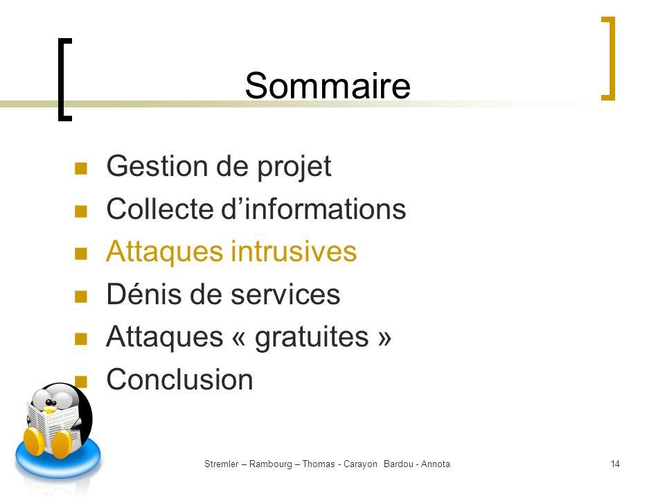 Stremler – Rambourg – Thomas - Carayon Bardou - Annota14 Sommaire Gestion de projet Collecte dinformations Attaques intrusives Dénis de services Attaq