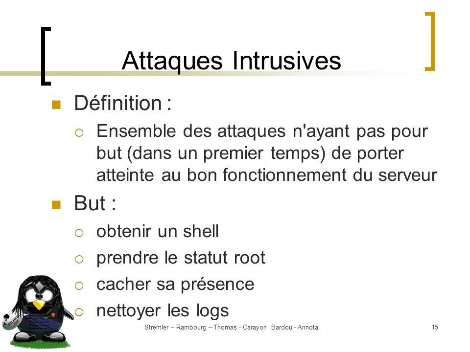 Stremler – Rambourg – Thomas - Carayon Bardou - Annota15 Attaques Intrusives Définition : Ensemble des attaques n'ayant pas pour but (dans un premier