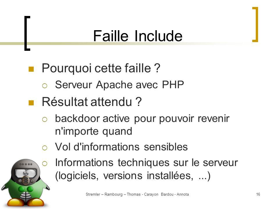 Stremler – Rambourg – Thomas - Carayon Bardou - Annota16 Faille Include Pourquoi cette faille ? Serveur Apache avec PHP Résultat attendu ? backdoor ac