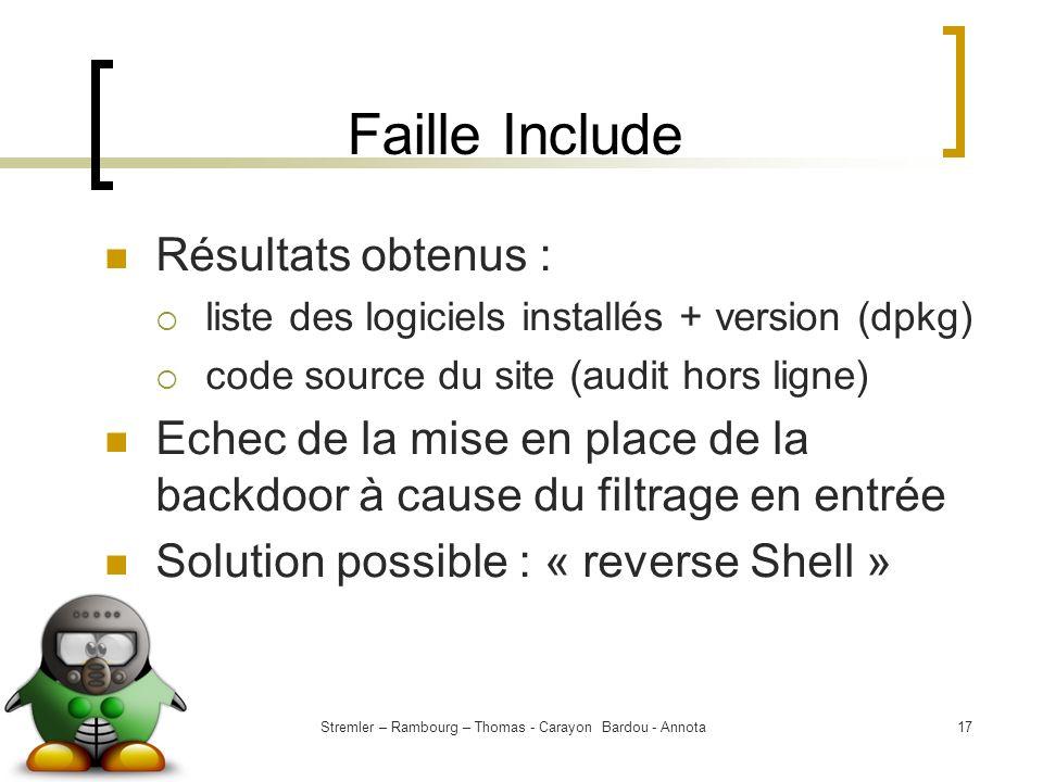 Stremler – Rambourg – Thomas - Carayon Bardou - Annota17 Faille Include Résultats obtenus : liste des logiciels installés + version (dpkg) code source
