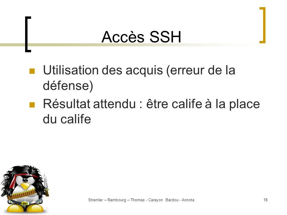Stremler – Rambourg – Thomas - Carayon Bardou - Annota18 Accès SSH Utilisation des acquis (erreur de la défense) Résultat attendu : être calife à la p
