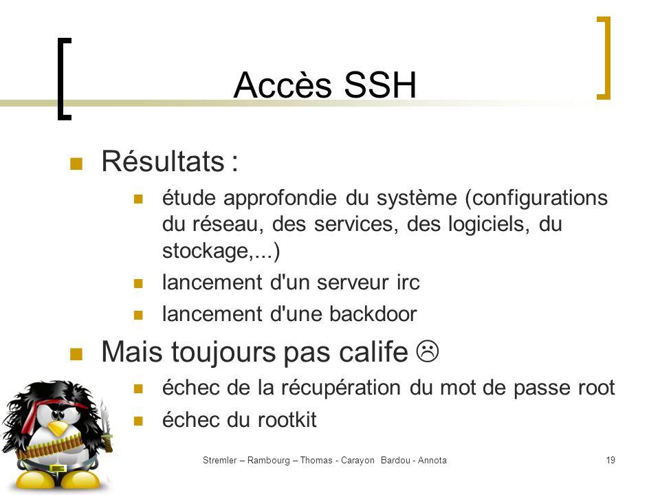 Stremler – Rambourg – Thomas - Carayon Bardou - Annota19 Accès SSH Résultats : étude approfondie du système (configurations du réseau, des services, d