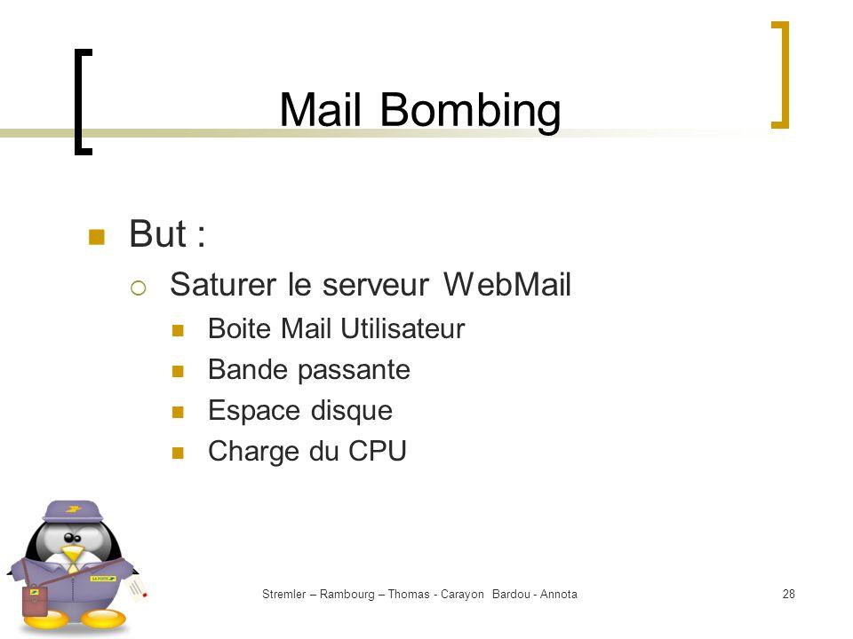 Stremler – Rambourg – Thomas - Carayon Bardou - Annota28 Mail Bombing But : Saturer le serveur WebMail Boite Mail Utilisateur Bande passante Espace di
