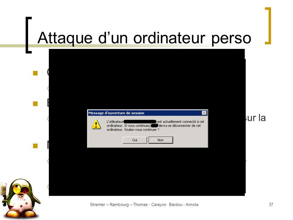 Stremler – Rambourg – Thomas - Carayon Bardou - Annota37 Attaque dun ordinateur perso Contexte : Collecte dinformations But : Récupérer le plus dinfor