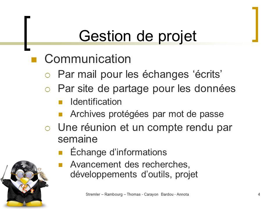 Stremler – Rambourg – Thomas - Carayon Bardou - Annota4 4 Gestion de projet Communication Par mail pour les échanges écrits Par site de partage pour l
