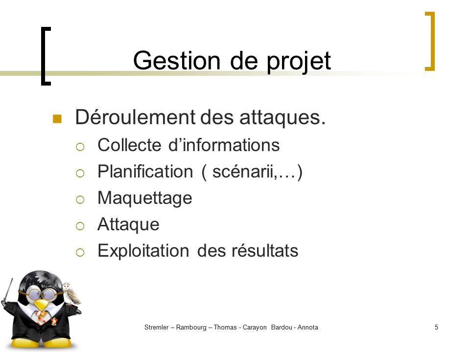 Stremler – Rambourg – Thomas - Carayon Bardou - Annota5 5 Gestion de projet Déroulement des attaques. Collecte dinformations Planification ( scénarii,
