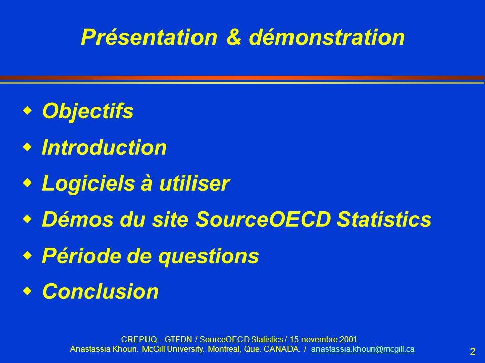 CREPUQ – GTFDN / SourceOECD Statistics / 15 novembre 2001.
