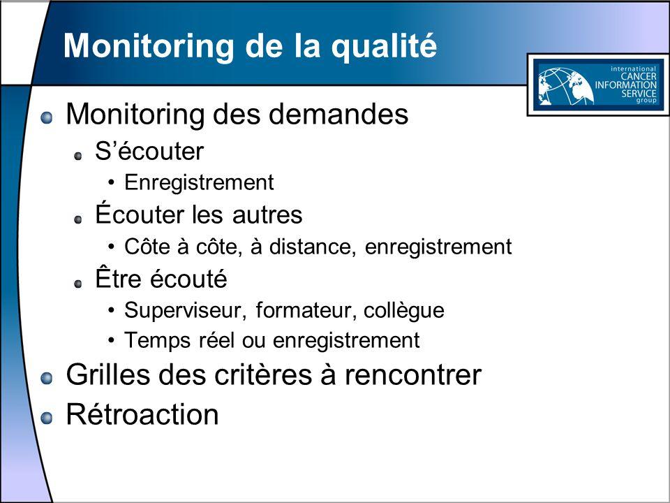 Monitoring de la qualité Monitoring des demandes Sécouter Enregistrement Écouter les autres Côte à côte, à distance, enregistrement Être écouté Superv