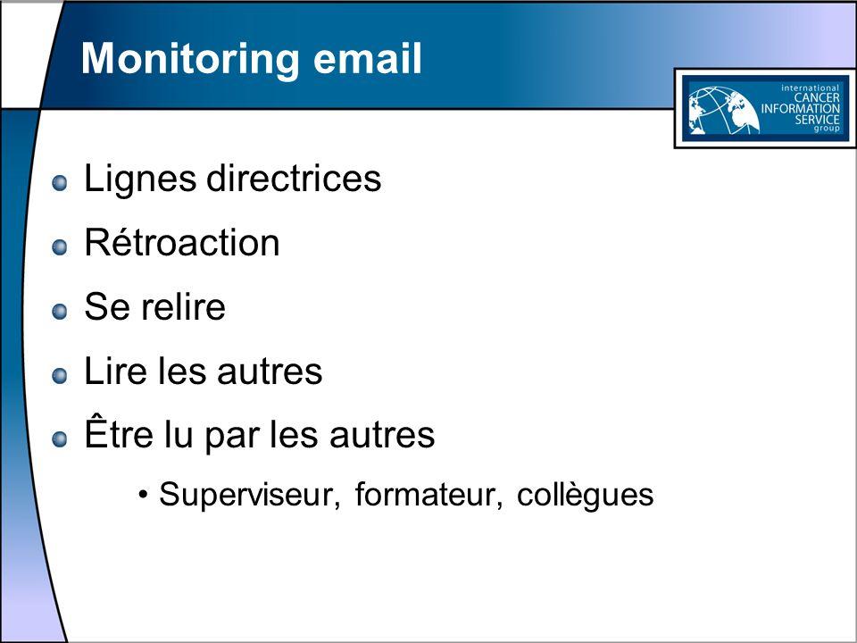 Monitoring email Lignes directrices Rétroaction Se relire Lire les autres Être lu par les autres Superviseur, formateur, collègues