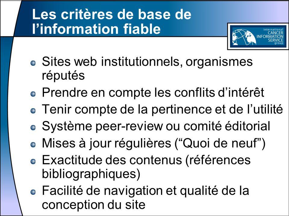 Les critères de base de linformation fiable Sites web institutionnels, organismes réputés Prendre en compte les conflits dintérêt Tenir compte de la p