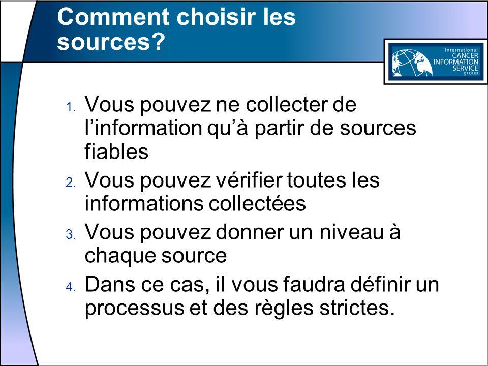 Comment choisir les sources? 1. Vous pouvez ne collecter de linformation quà partir de sources fiables 2. Vous pouvez vérifier toutes les informations