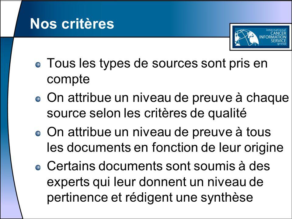 Nos critères Tous les types de sources sont pris en compte On attribue un niveau de preuve à chaque source selon les critères de qualité On attribue u