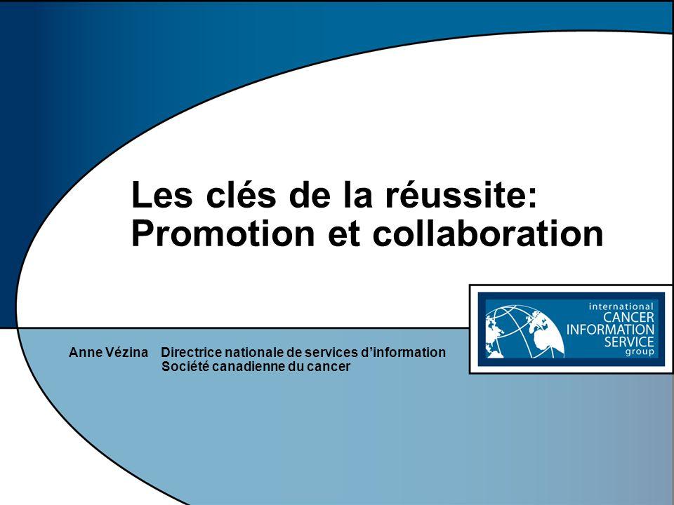 Les clés de la réussite: Promotion et collaboration Anne Vézina Directrice nationale de services dinformation Société canadienne du cancer