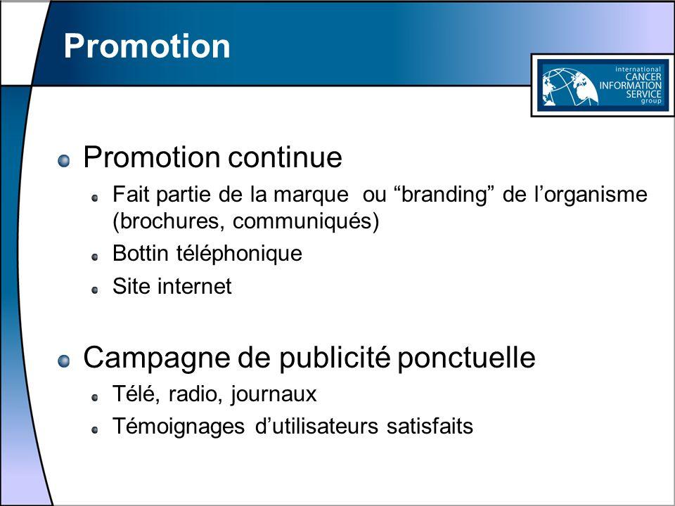 Promotion Promotion continue Fait partie de la marque ou branding de lorganisme (brochures, communiqués) Bottin téléphonique Site internet Campagne de