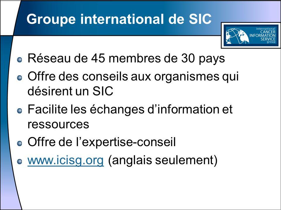 Groupe international de SIC Réseau de 45 membres de 30 pays Offre des conseils aux organismes qui désirent un SIC Facilite les échanges dinformation e