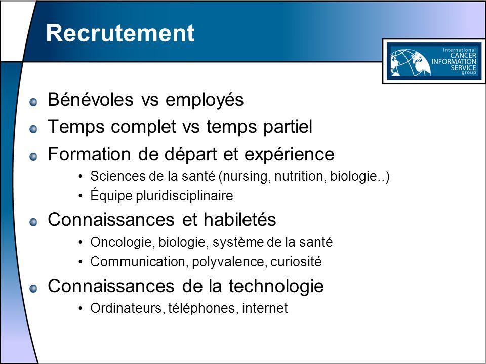 Recrutement Bénévoles vs employés Temps complet vs temps partiel Formation de départ et expérience Sciences de la santé (nursing, nutrition, biologie.