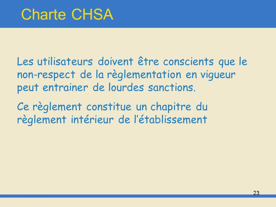 24 Charte CHSA La gestion du système dinformation est de la responsabilité de ladministrateur système.