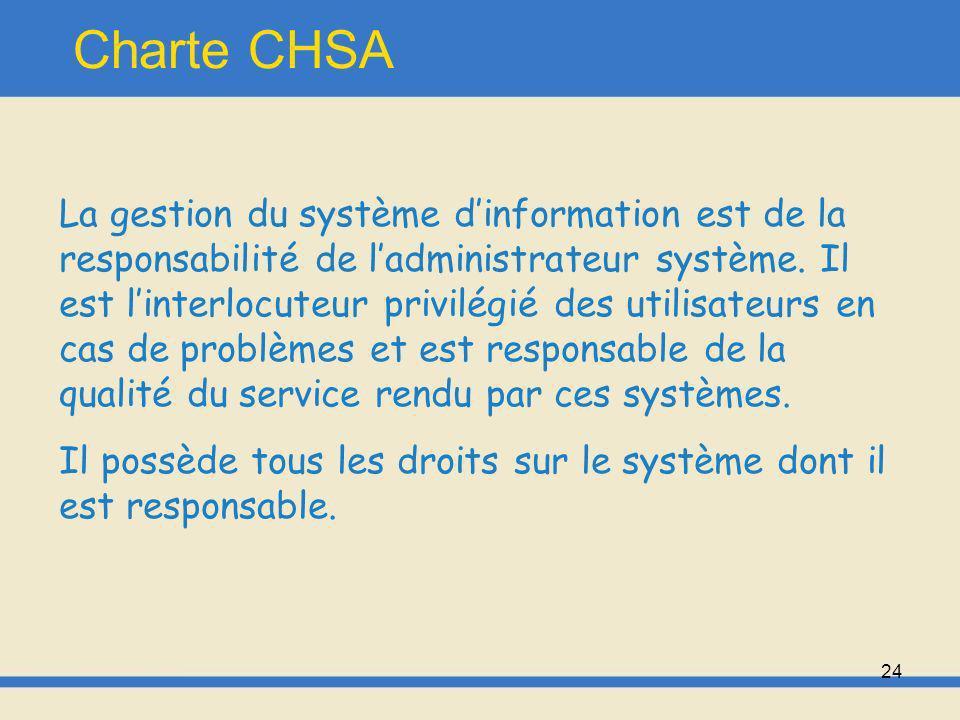 25 Charte CHSA Modalités daccès Toute personne devient utilisatrice du système dinformation à compter du moment où elle reçoit de manière individuelle ou collective, un code daccès au système