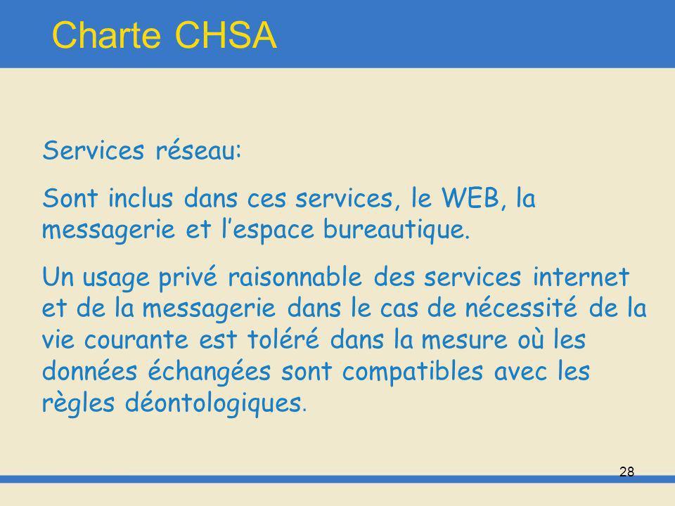 29 Charte CHSA Logiciels, progiciels: Il est strictement interdit de faire des copies de logiciel, ni de le dupliquer Aucun utilisateur nest autorisé à installer un logiciel ou progiciel.