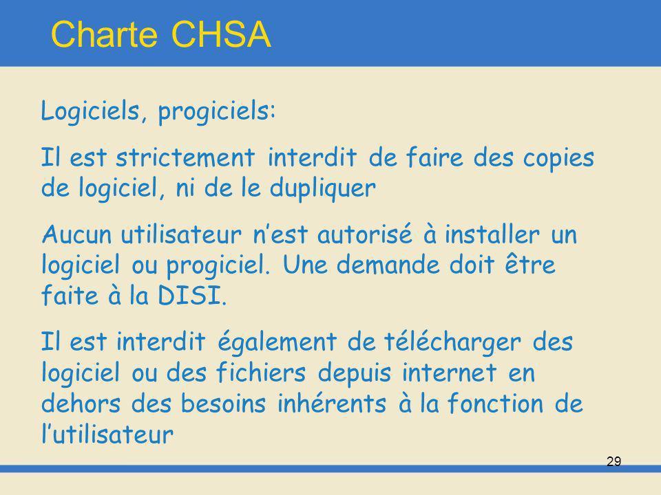 30 Charte CHSA Règles dutilisation et de bon usage: -Chaque agent est responsable de son utilisation des logiciels, doit respecter la règlementation et le droit à limage.