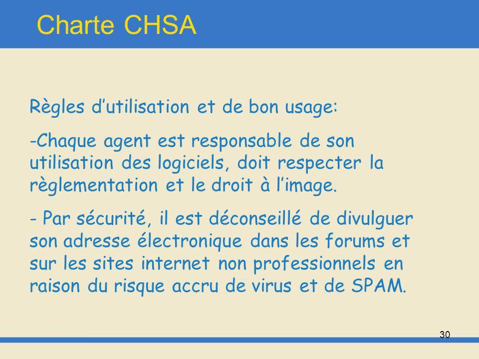 31 Charte CHSA -« Compte tenu de limpossibilité, en létat actuel de la technologie, de garantir une sécurité totale des informations transmises par messagerie électronique ou par internet, il est interdit de transmettre des informations protégées par le secret médical par ce biais, en dehors dun procédé de cryptologie conforme à la législation en vigueur.