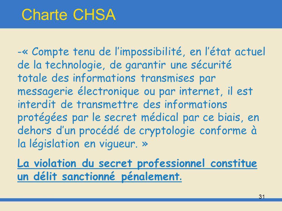 32 Charte CHSA Le CHSA sengage donc à donner, par le biais du service informatique, les moyens de nature à assurer une réelle confidentialité, et le respect du secret médical.