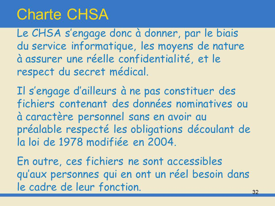 33 Charte CHSA Enfin, le service informatique dispose doutils permettant une surveillance et un enregistrement continu de lactivité concernant le réseau Internet.