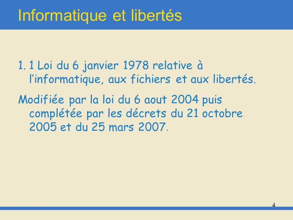 5 Informatique et libertés Loi française promulguée à la suite de laffaire SAFARI, et qui règlemente aujourdhui notamment la pratique du fichage, manuel ou informatique.