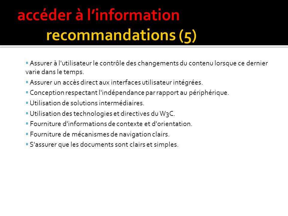 14 recommandations du WAI Fournir des alternatives équivalentes au contenu auditif et visuel. Ne pas s'en remettre uniquement aux couleurs. Utiliser l
